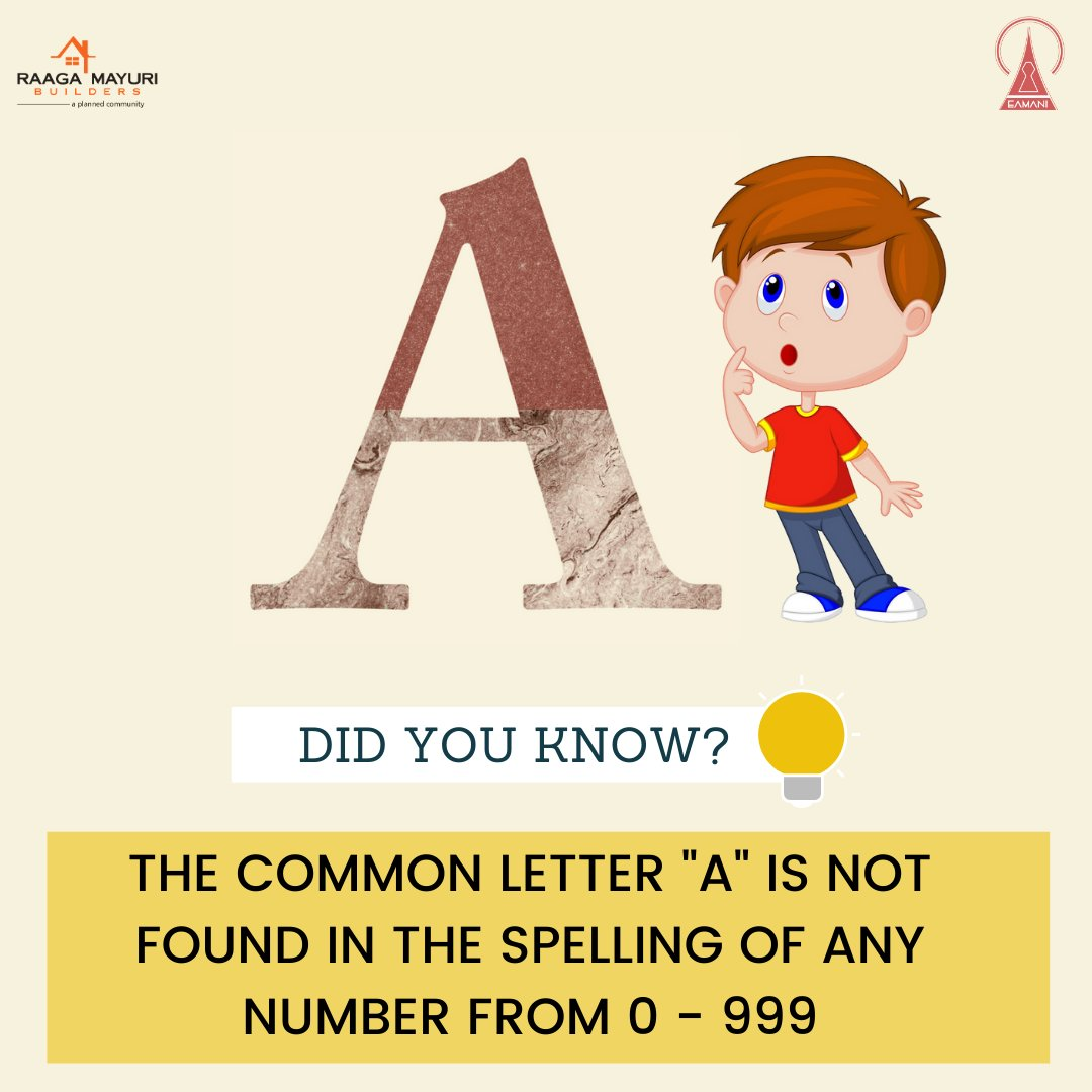 Did You Know? . . . . #didyouknow #facts #knowledgefacts #genaralknowledge #didyouknowposts #didyouknowfacts #raagamayuribuilders #eamaniinfrastructure #knowledgeshare #knowledgequestions #worldfacts #didyouknow?#aletter #notfoundanumbers #numbersletterspic.twitter.com/EGIUKUBvJZ