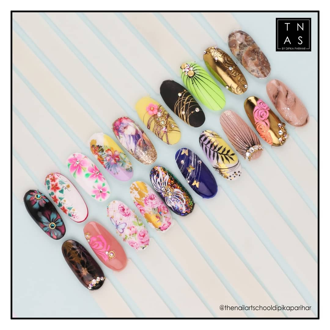 Here is the glimpse of the Nail art pics taught by our Master Educator - Dipika Parihar in the Online Class on Advance Gel Nail Art which was held on 5th & 6th August 2020   #TheNailArtSchool #NailArt #NailArtist #Nailsofinstagram #NailLovers #Nails #Nailssalon #Nailspofessionalpic.twitter.com/4G4iWH8Jr2