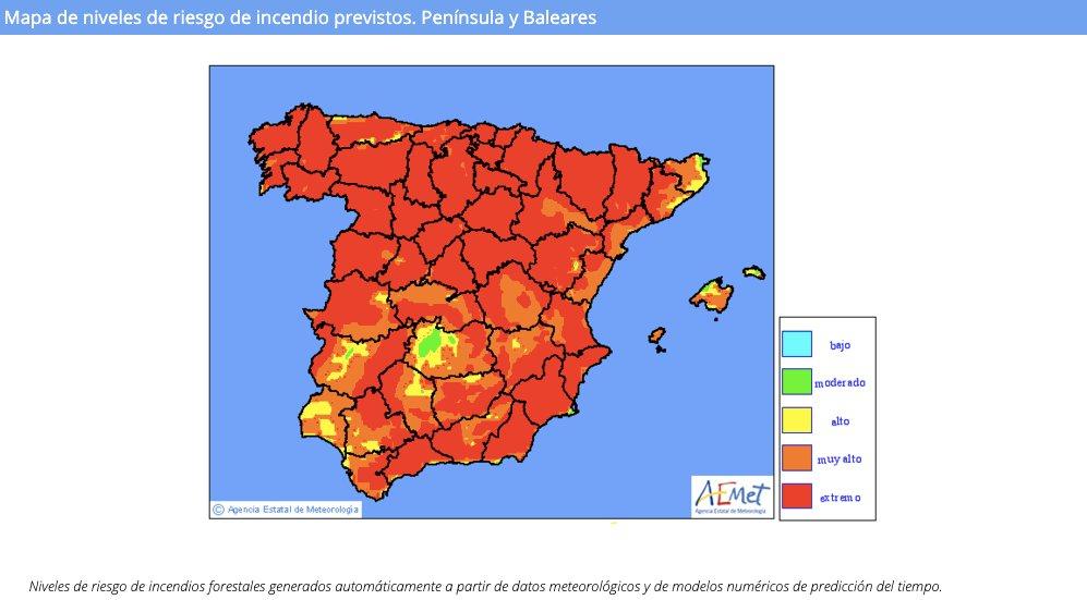 Twitter Transición Ecológica y Reto Demográfico. Mapa de riesgo de incendios de @AEMET_E...: abre ventana nueva