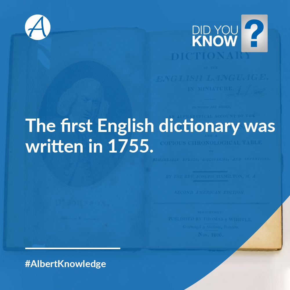 Did you Know? The first English Dictionary was written in 1755.  #DidYouKnow #AlbertKnowledge #AlbertPharma  http://www.AlbertPharma.com https://www.twitter.com/AlbertPharm http://www.instagram.com/AlbertPharm https://www.linkedin.com/company/albertpharm/…pic.twitter.com/eDvCfWdJBk