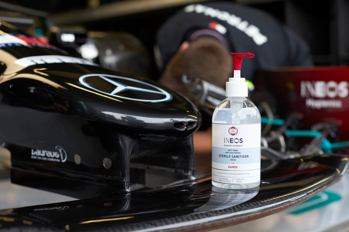 It's a team effort to get the cars and drivers ready for the 70th Anniversary GP. With over 1500 @MercedesAMGF1  team members working hard at the track and factory, INEOS hand sanitiser helps them get the job done with confidence. Buy exclusively online at Amazon. https://t.co/U2jDmd63z2