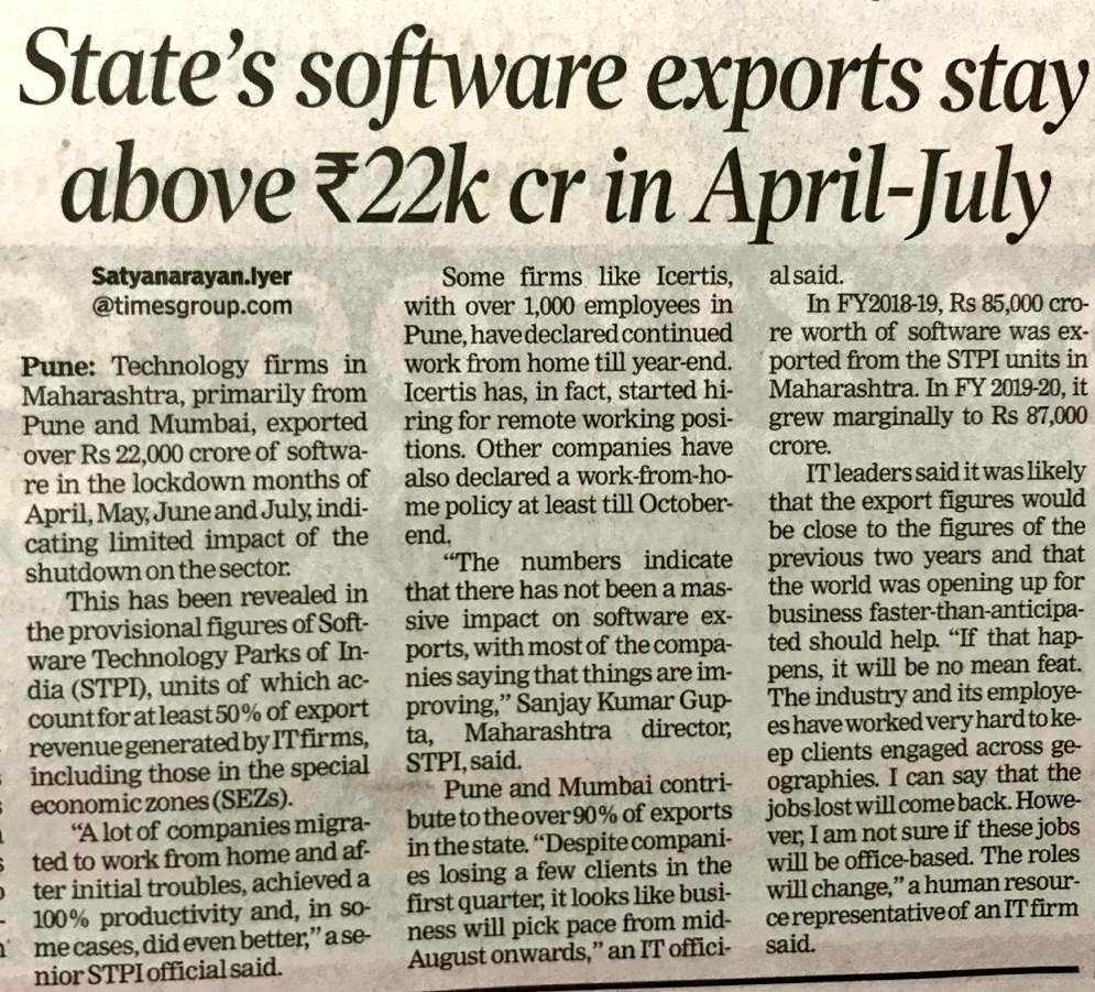 #Tech firms in #Maharashtra exported over Rs. 22k Cr of #software in the #lockdown months of Apr-May-June-July.  'Many companies took up working from home, and achieved a 100% productivity &, in some cases did even better' - officials. #IT #Pune #Mumbai #Technology #Exportspic.twitter.com/pEEiogsmDl