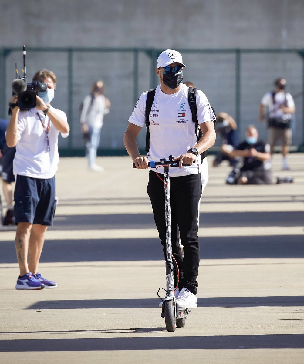 Cruising in 🛴  Qualifying day ahead 👊  #VB77 #F1 #BritishGP  @MercedesAMGF1 @Xiaomi  📸 Etherington https://t.co/MYnsxYOxvr