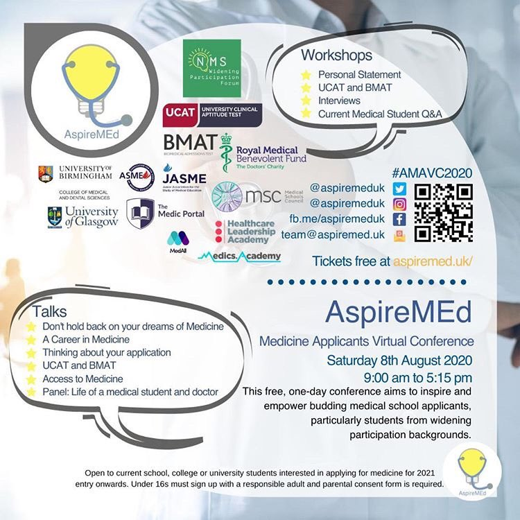 All set for today's #AMAVC2020 AspireMEd Medicine Applicants Virtual Conference. Good luck to the organisers and we hope all the participating find it interesting and useful. So pleased @uob_mdsoutreach could provide support. #wideningparticipation #unisupport https://t.co/2KFR8BeQ7J