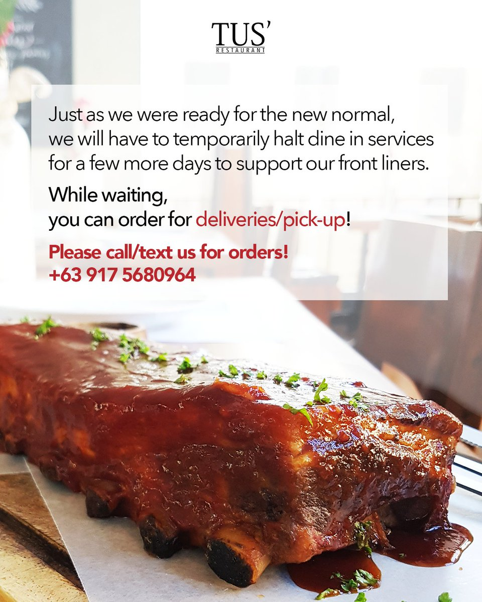 While waiting for our dine-in services to resume again, you can order for deliveries/pick-up!  Please call/text us for orders! +63 917 5680964  For our menu, you can visit https://t.co/WG5eRqc3Wb  #tusrestaurant #frontliners #heroes https://t.co/Rcsi97YHL2