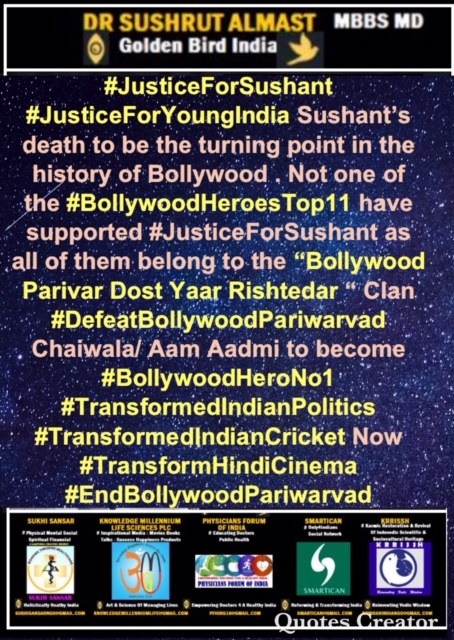 Not one #BollywoodHeroesTop11 has come in support of #JusticeForSushant #JusticeForYoungIndia as all of them belong to #BollywoodPariwarDostYarRishtedar Clan. They earn 10 Crore to 70 Crore per film from IndianYouth #BoycottBollywoodPariwarFilms  #WatchOTTpic.twitter.com/0ZPESH0SRl