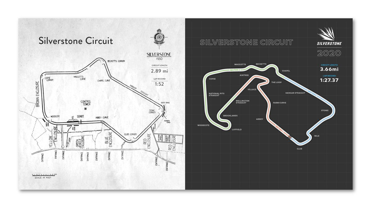 In 70 years of @F1 at Silverstone, the track configuration has changed dramatically!   Spot the differences 👀  #F170 #F1 https://t.co/BTw1GKjnJb