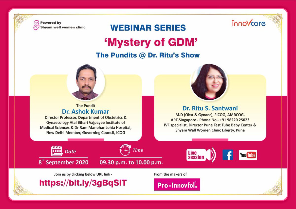 """Dear friends  Do join us for interactive #discussions on #GDM : #Gestational #Diabetes #Mellitus 8 th August'20 """" 9.30 pm https://t.co/4kctGdMyHQ https://t.co/PWWfBSCnBL"""