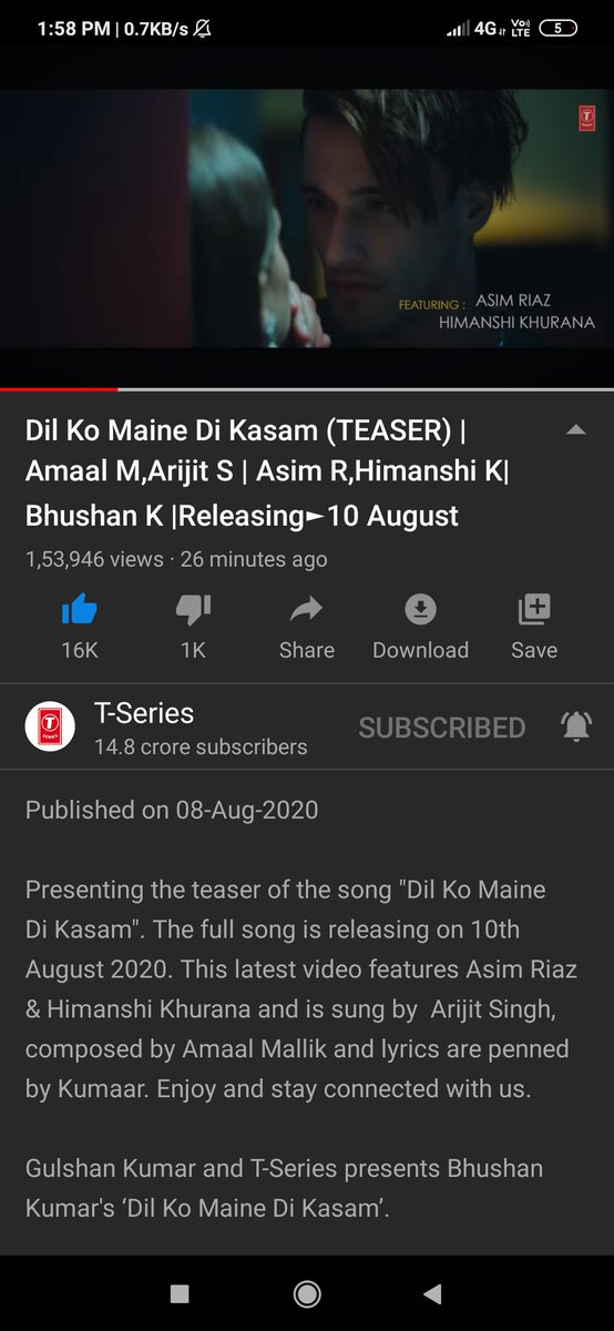 Can I get 100 RTs?? #DilKoMaineDiKasamTeaser has already crossed 1 lakh+ views in just 26 Minutes! It's so lit! Can't wait super Excited for this song on 10th August?!! SHOW YOUR LOVE!Let's bring it on Trending list on twitter as well as YOUTUBE!!! Link: https://t.co/dapxcdDmBJ https://t.co/H0sAC8XQQU