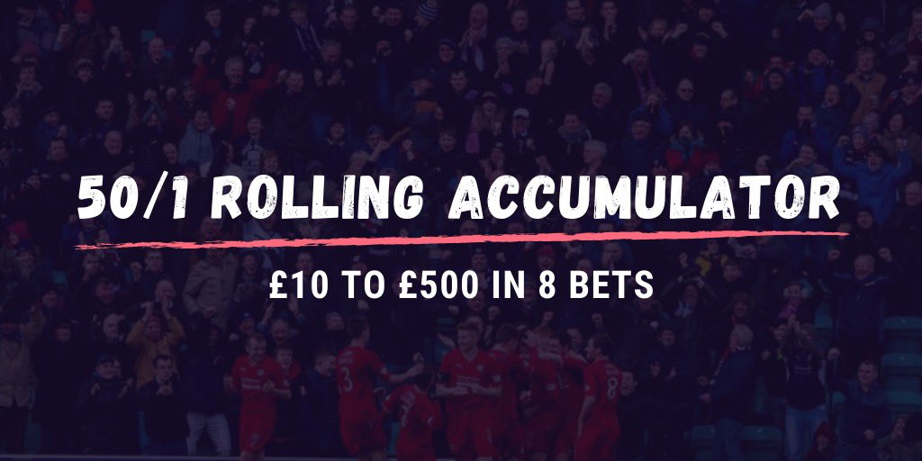 NEW 50/1 ROLLING ACCA!    You've twisted my arm lads, we've got unfinished business with this challenge. So I'm happy to go again. Who's with me?   HIT  AND TAG YOUR MATES! pic.twitter.com/9buo65l6Vp