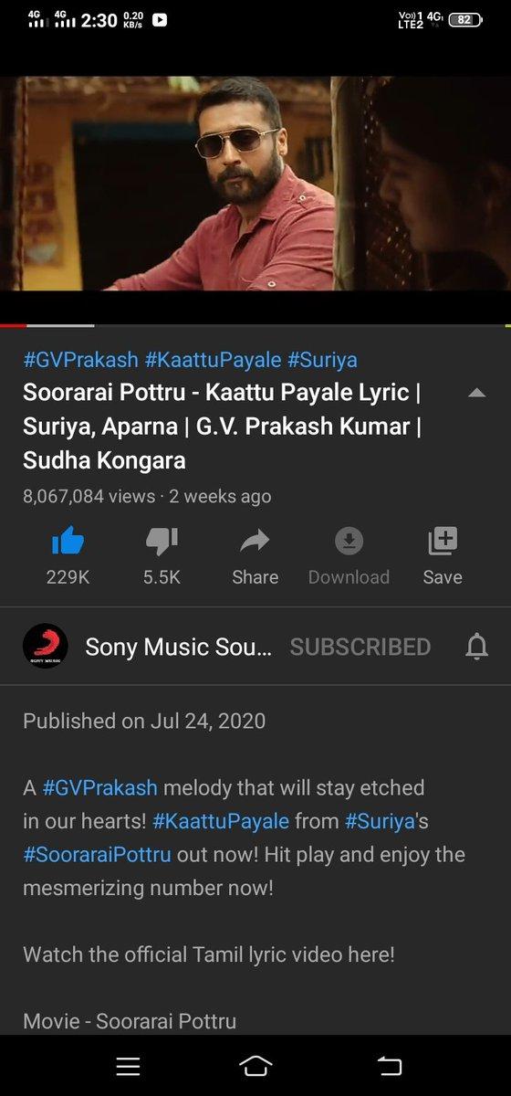 The Fabulous #KaattuPayale Lyrical Video Hits 8M+ Views #SooraraiPottru https://youtu.be/JwvM4Fiha7E  @2D_ENTPVTLTD @Suriya_offl #SudhaKongara @talktodhee @rajsekarpandian @gvprakash @nikethbommi @Aparnabala2 @editorsuriya @SonyMusicSouthpic.twitter.com/VeNKdmlf2Z