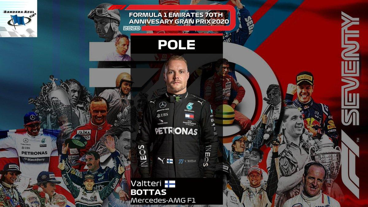 ¡Valtteri BOTTAS se lleva la POLE en el Gran Premio del 70º Aniversario! Es su pole nº13, la segunda de esta temporada tras lograrla en el Gran Premio de Austria. #F1 #F170 https://t.co/jVY3xs7767