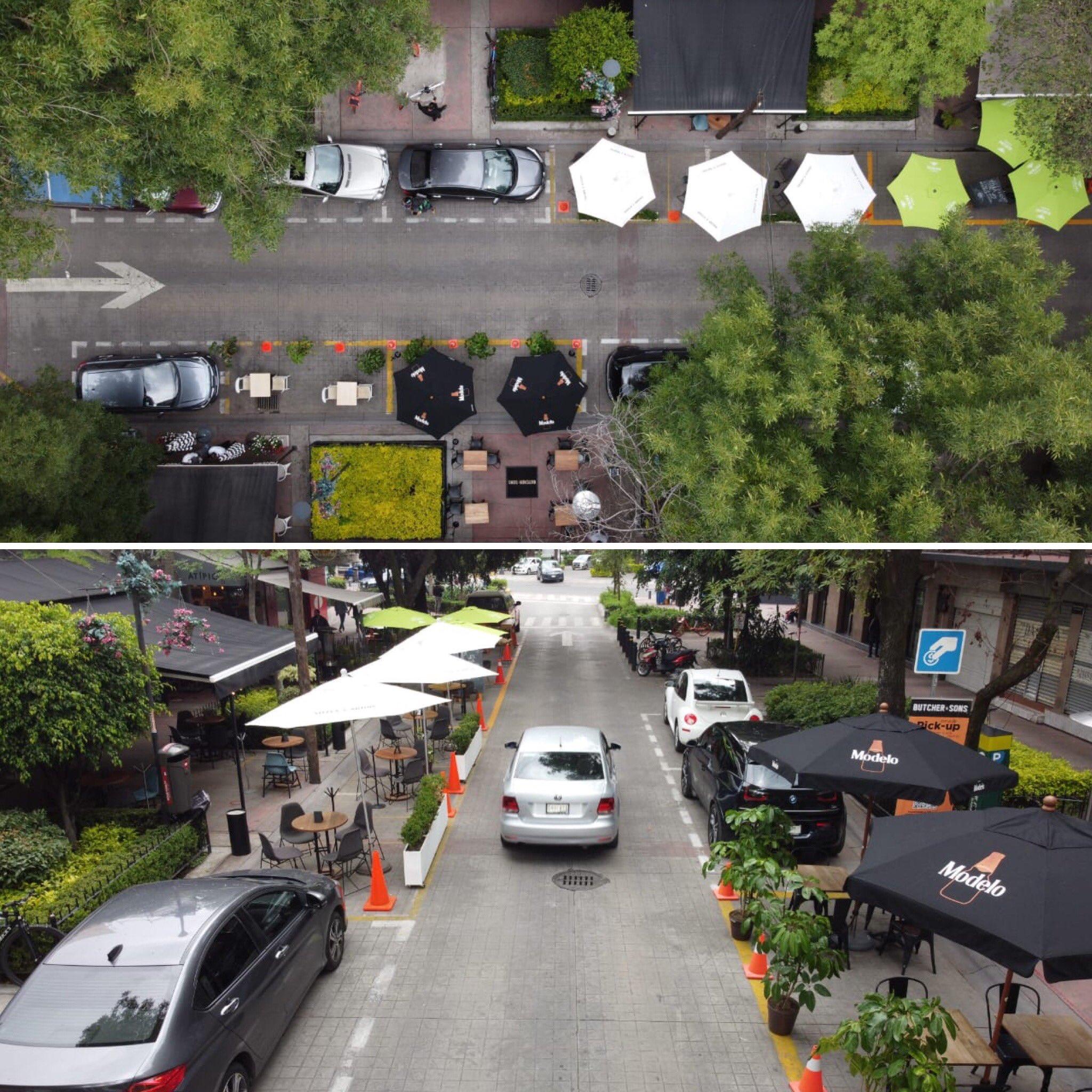 Imagen que muestra terrazas móviles en la Ciudad de México. Los cajones de estacionamiento son usados como terrazas móviles con la colocación de mobiliario como mesas y sillas.