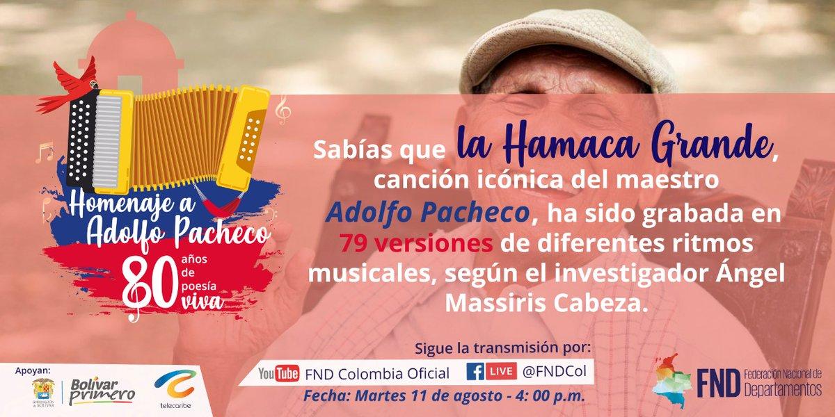 No te pierdas a @carlosvives; Juan Gossain; el maestro Ivo Díaz y @PLinero; participar en una amena charla en el evento homenaje al compositor vallenato Adolfo Pacheco organizado por @FNDCol y @GobDeBolivar. Conéctate el martes ➡️ https://t.co/YKhQsF2MUh #AdolfoPacheco80Años https://t.co/1VBKPv0juy