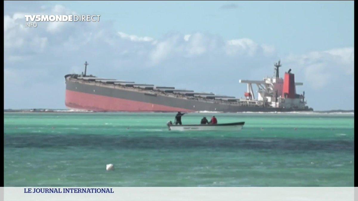 🇲🇺 Île Maurice :  Des hydrocarbures s'écoulent d'un bateau échoué depuis fin juillet sur le récif. Le navire risque de se briser, ce qui entraînerait une fuite encore plus importante. https://t.co/A2FfrkaQzo
