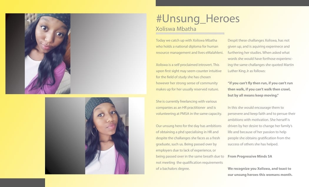 Please meet Ms Coliswa Mbatha our unsung heroine. We are celebrating women who are unnoticed by the society. #Help_A_Graduate #PMSA #invest_in_a_graduate #UnsungHeroes #Unsung_Heroinespic.twitter.com/snjY9niKLX