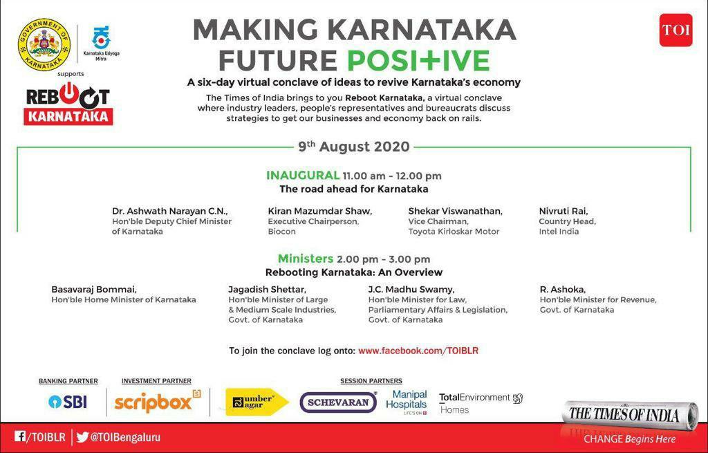 Watch Kamal Sagar in discussion with industry leaders on the blueprint to #rebootKarnataka   Date : 9th August 2020, Time : 2pm - 3 pm IST  Link : https://t.co/nYmNCqLL0A https://t.co/kVXtVV25r9