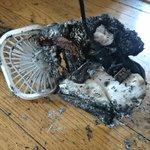 7月末にAmazonで購入した中国製の携帯扇風機が充電中に発火!危うく火事に…