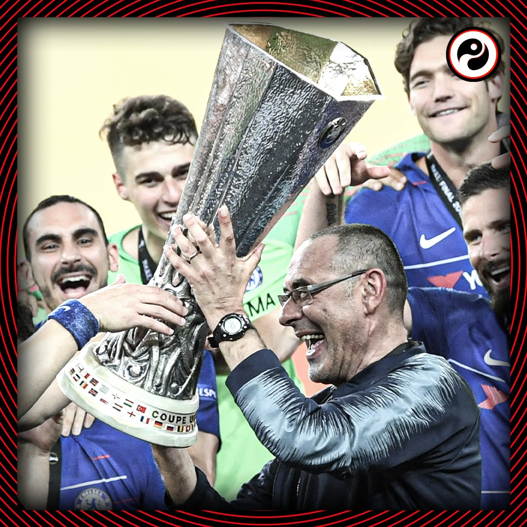 2018-19: Maurizio Sarri leaves Chelsea after winning the Europa League 2019-20: Maurizio Sarri is sacked by Juventus after winning Serie A Two seasons, two clubs, two trophies. 🚭