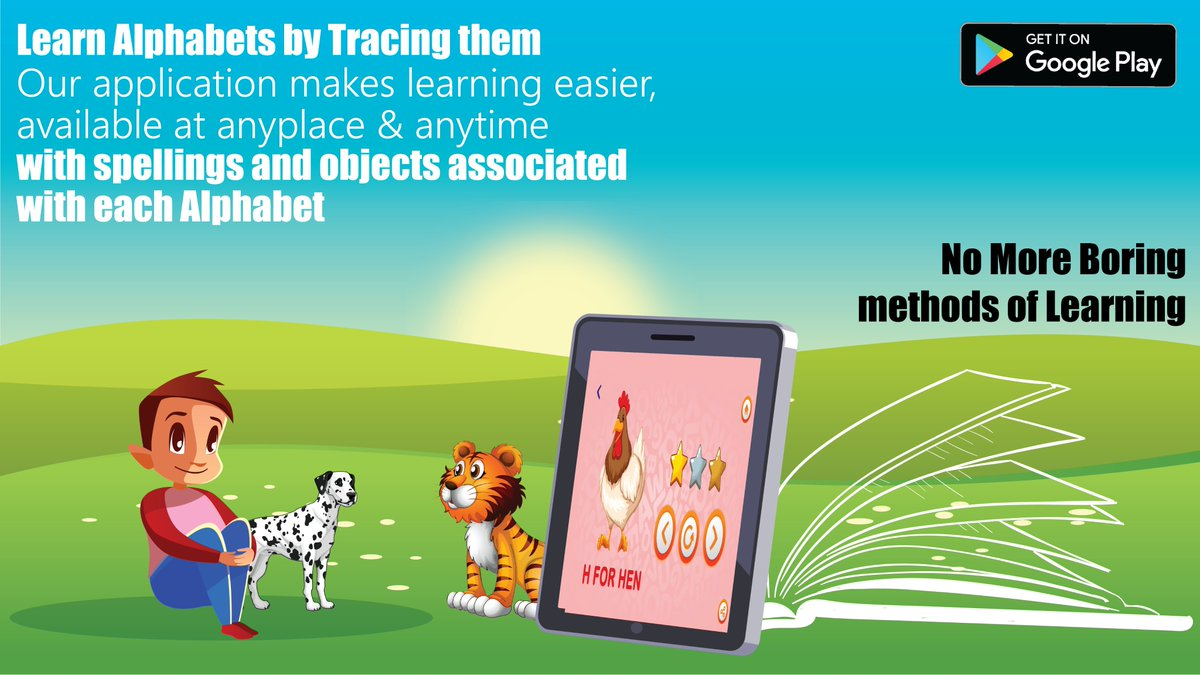 Finding hard to #teach you little ones alphabet? Our #application will not only help #learn the alphabet but also how to write them by tracing with new object & their #spelling @UNICEFEducation @UNICEFIndia @UNICEF @InfoGujcost @HRDMinistry @EduCannotWait @GPforEducation https://t.co/OGZ3LCrIWn