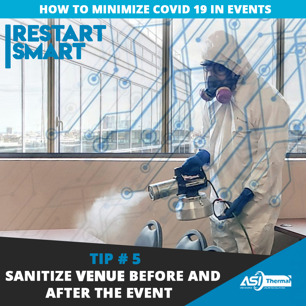 To prevent the infection from harming the next users of the venue, immediately conduct a disinfection process. Learn more: https://asithermal.com/5-ways-to-minimize-covid-19-risks-in-events/… #restartsmart #events #covid19 pic.twitter.com/S7tlWiEKys