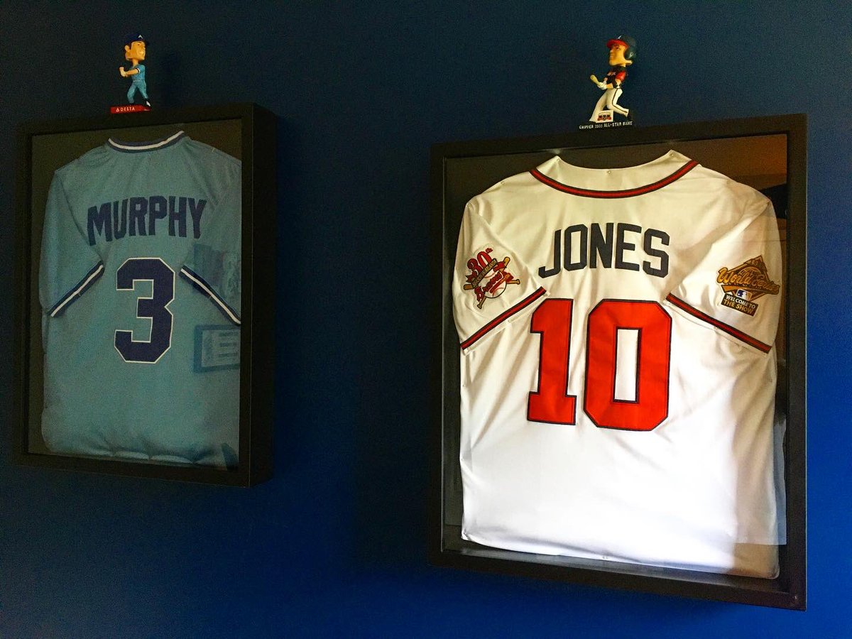 Got my 3 year old son's @Braves room finished today. He's got Grandad's favorite Brave, @DaleMurphy3, and Dad's favorite Brave, @RealCJ10 framed jerseys on the wall. When he is old enough to have a favorite player, I'll put up a 3rd jersey. #ForTheA https://t.co/1hXGgTEyEk