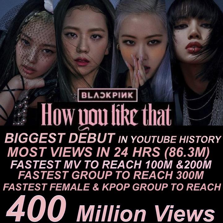 #BLACKPINK's #HowYouLikeThat Becomes The Fastest Female Group & K-Pop Group MV To Reach 400M Views!   @BLACKPINK @ygofficialblink  #블랙핑크 #JISOO #JENNIE #ROSÉ #LISA #400MILLION #YOUTUBE #YG_TreatJisooBetter https://www.facebook.com/worldmusicawards/posts/3215766665171091…pic.twitter.com/vDRd93fspO