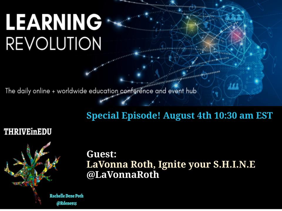 Loved this conversation with @LaVonnaRoth  @ThriveinEDU #igniteyourshine https://t.co/kSQZ2ppu3V Join in on Wednesdays at 4pm #education #edchat #joyfulleaders #teacherlife #crazypln  #leadlap #teachbetter #SEL #edutwitter #nt2t #educoach https://t.co/YJRiaIOu5p