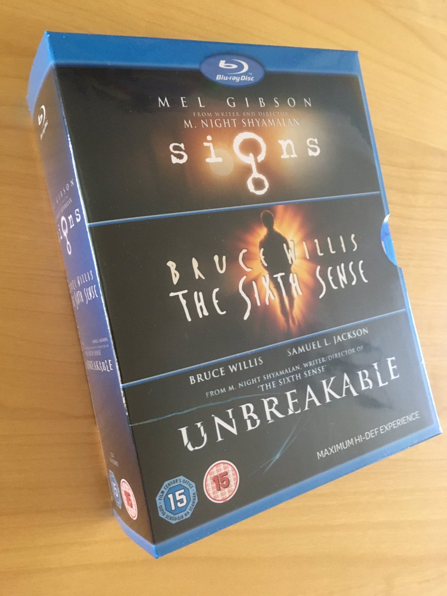#LatestAddition to my #BlurayCollection was a good deal from @hmvLivingston: £10.99 for @MNightShyamalan's The Sixth Sense, Unbreakable and Signs! All worthy #BluRay upgrades to existing DVDs. #KeepDiscsAlivepic.twitter.com/4pLcgtoiUD