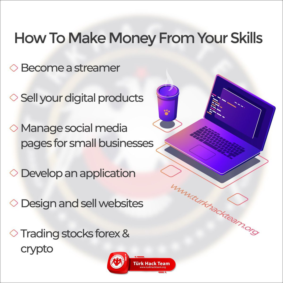 How to make money from your skills!  #cybersecurity #website #developer #design #skills #socialmedia #Cryptopic.twitter.com/Eq1yggfO7t