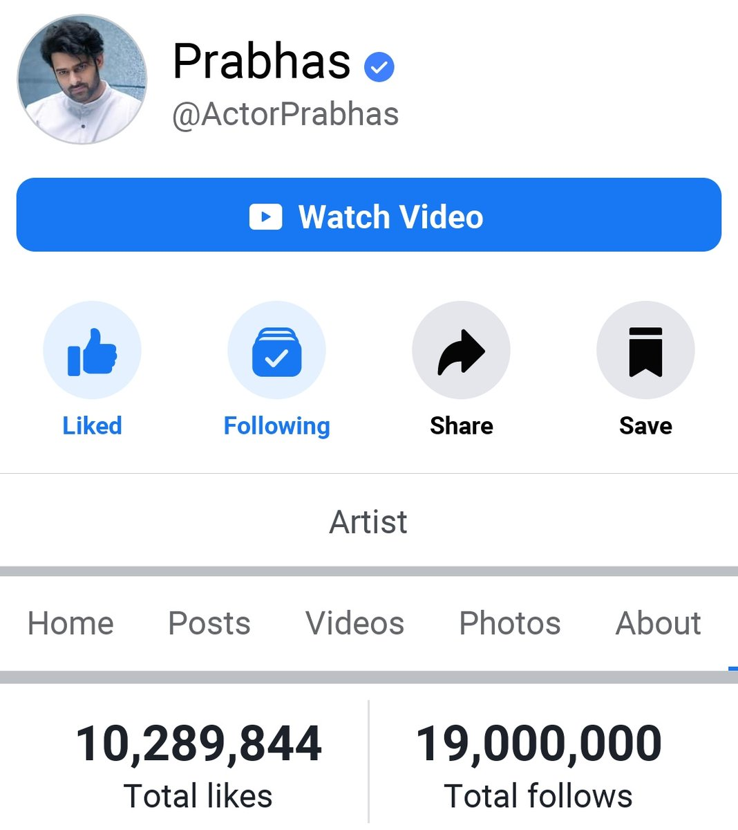 19M Followers For Rebel Star PRABHAS  In Facebook . Most Followed South Indian Actor On Facebook   #Prabhas __/\__  #RadheShyam #Prabhas21 #19MillionForPrabhasInFBpic.twitter.com/kVoFcsWypz