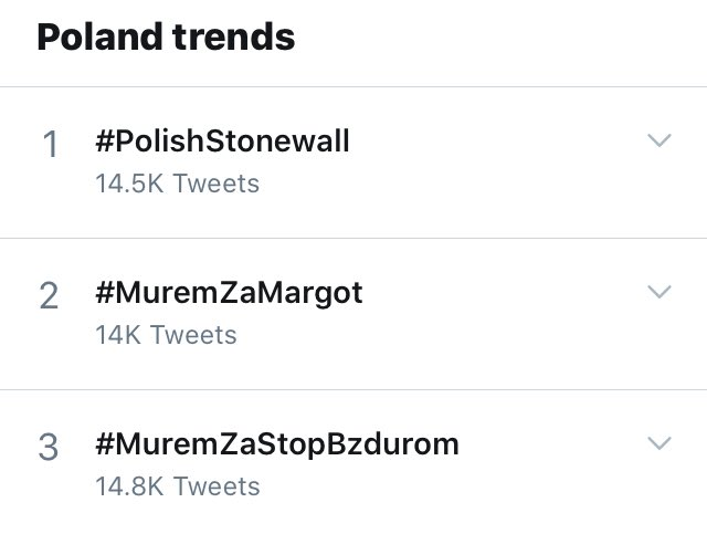 Refraining from posting pictures from the demonstrations that are happening right now due to safety concerns. Were fighting for our rights. #PolishStonewall has been trending at no 1 for hours now. Were also gaining exposure internationally. #MuremZaMargot #MuremZaStopBzdurom