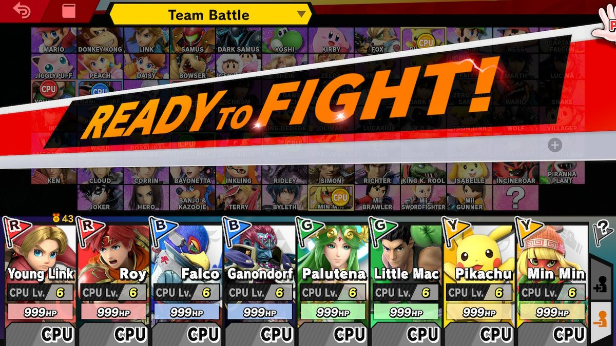 Okay #smashbros Twitter  Going to let this run all day today  999 HP, 99 stock, no items, stage swaps between FD/Battlefield every 5 minutes  Which team comes away with the victory? I'll make a poll in my next tweet.  #SmashBrosUltimate  #SuperSmashBrosUltimate #SSBUpic.twitter.com/w1FJGDPYKV