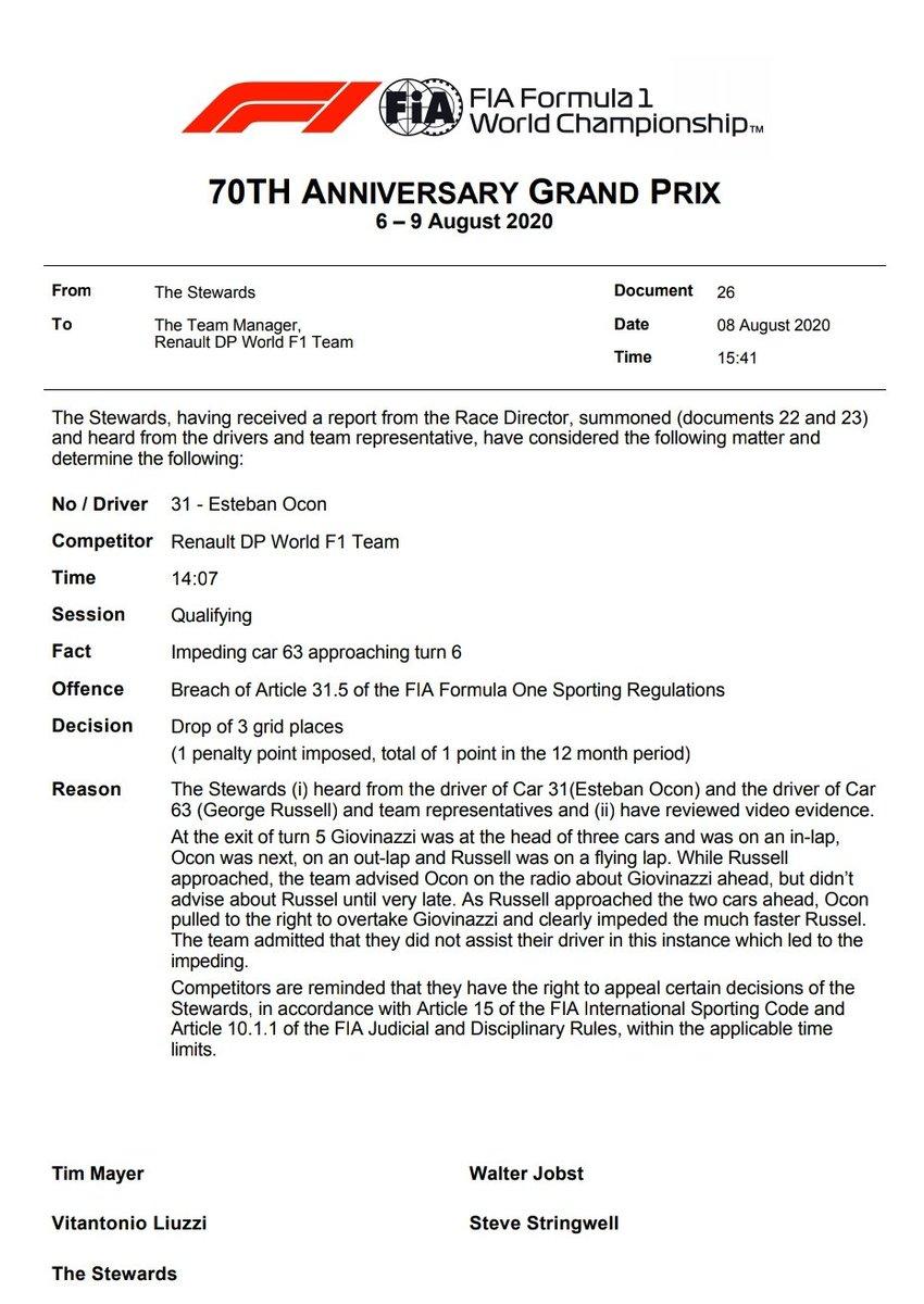 Lembrando que o Ocon foi punido com 3 posições por atrapalhar o Michel Teló britânico, George Russell. Com isso vai de 11º para 14º no grid de partida. Vettel, Sainz e Grosjean largam uma posição à frente cada um  #F1noSporTV https://t.co/2mTp2IKURv