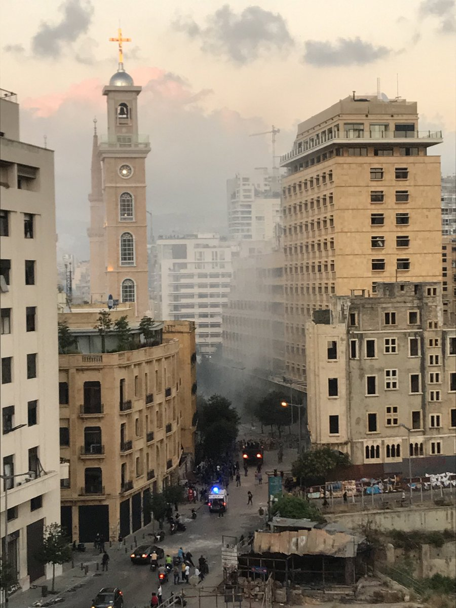 Teargas hanging in the Beirut air. Watch @channel4news at the earlier time of 6pm tonight.