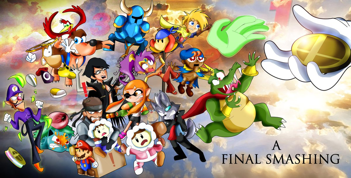 Ayyee! So here's some history lol. I made this pic 5 years ago for the upcoming Final Presentation of Smash Wii U. Bayo actually ending up getting the spot! And so did others down the line #SmashBrosUltimate #supersmashstyle #nintendo #rayman #shantae #geno #SuperSmashBrospic.twitter.com/Uke31wkpw4