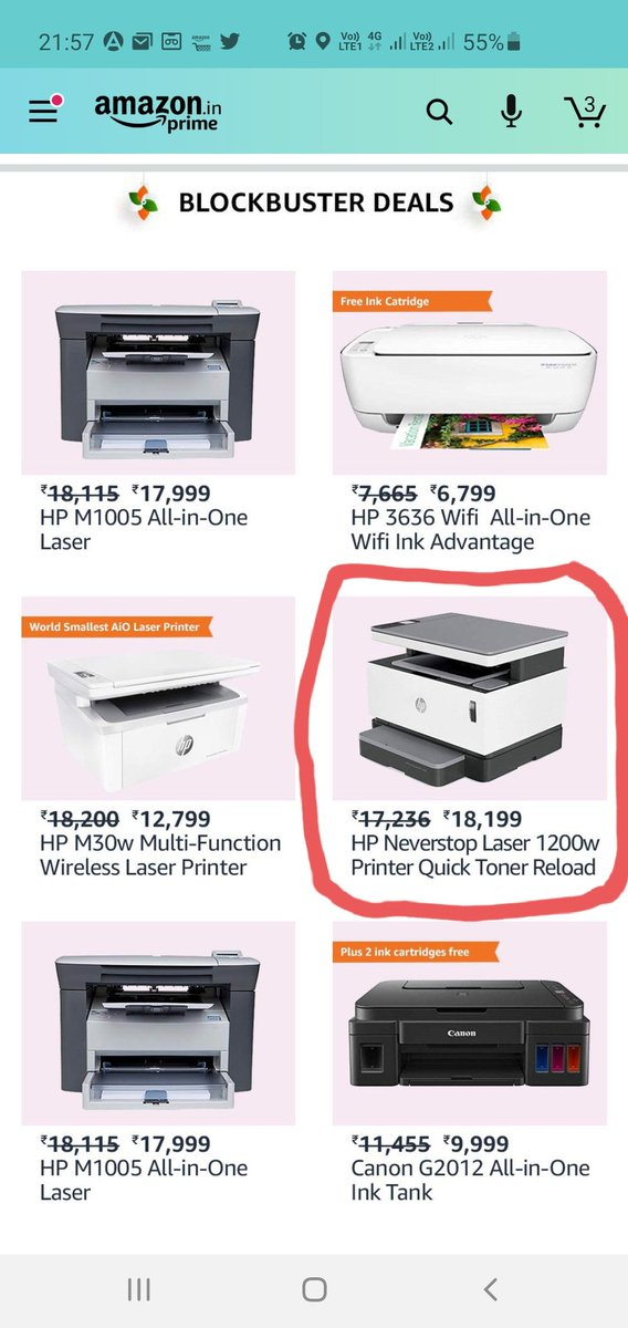 @amazonIN How is this a blockbuster deal? The cost of this printer was Rs 17236 (it actually was yesterday) and with freedom sale and blockbuster deal it is Rs 18199 today? Please help me understand.  @TechnicalGuruji @igyaan @geekyranjit @sharmajitech @Techburner_slokpic.twitter.com/9XqiT3lJ9R
