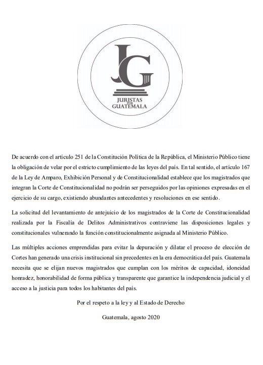 test Twitter Media - Juristas por Guatemala recuerdan que los magistrados de la CC no pueden ser perseguidos por sus resoluciones y piden que se elijan magistrados. https://t.co/0ujMWIyvGj