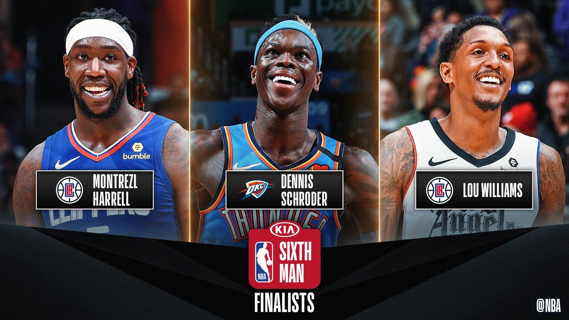 NBA. Scelti i tre finalisti per il premio di sesto uomo dell'anno: Harrell, Schroder e Williams