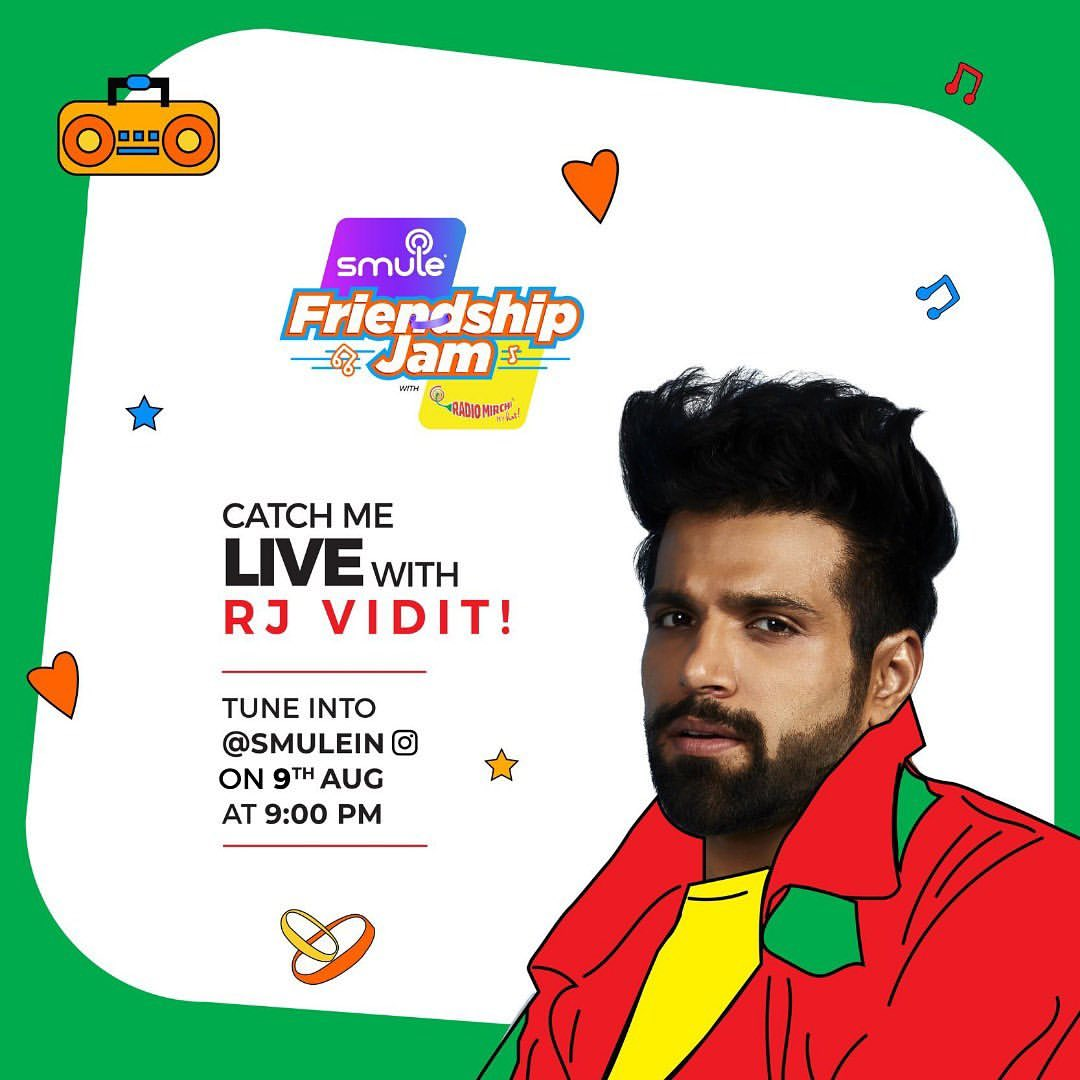 """@rithvik_RD post""""LIVE SESSION ALERT! I am all game for a fun and musical live session with RJ Vidit on@Smulein. Join me as we jam on music, masti and friendship and together on Smulein #SmuleIndia#IndiaJamKarega#SmuleFriendshipJam#RadioMirchi#CatchLive#Jam#FriendshipAnthempic.twitter.com/vrd2vNke4C"""