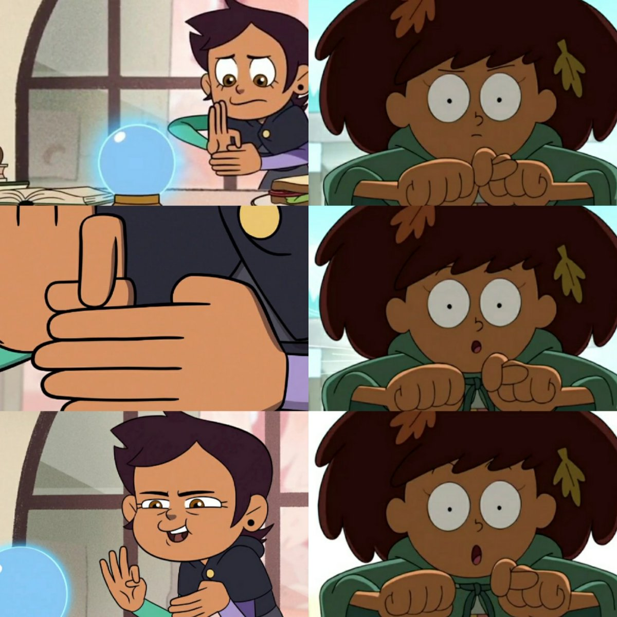 Humans' special magic trick  ---- They say humans can't do magic. Well look at that.   Disney The Owl House and Amphibia  #theowlhouse #amphibia #disney pic.twitter.com/YuIjZYbZmL