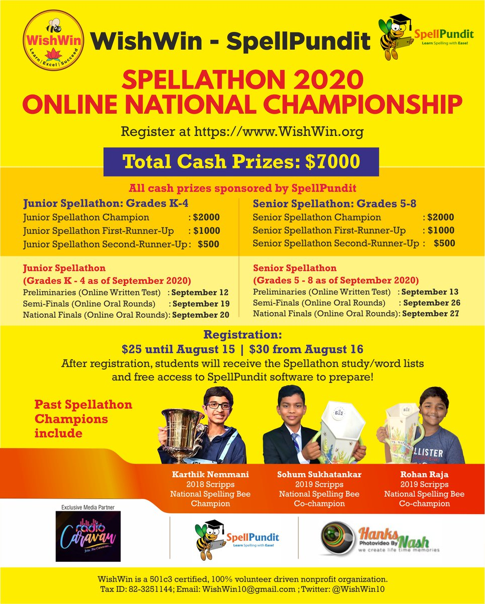 The WishWin-SpellPundit Spellathon is quickly approaching!   This bee is specially designed to help your child to do well in the upcoming Scripps school spelling, district and regional, and national bees.   Please register your child today!  #2020Spellathon #spelling #education https://t.co/rre9ZEmhRw