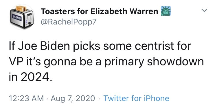 Warren Dems are having a real one. They know Warren will not be VP, so now they are resorting to extortion, threatening to primary Biden in 2024 if he doesn't pick her. These are not real democrats. They are bad actors. https://t.co/CM45imAbCA