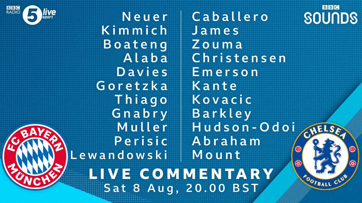 Here's how #BAYCHE line-up 📝🚨  🔴 Lewandowski and Gnabry start for #FCBayern   🔵 Six changes for #CFC from their #FACup defeat to Arsenal  🎙️ Build-up starts now with @emma_saund, @Iandennisbbc and @Robert1Green  Join us on @BBCSounds 📲📻: https://t.co/5Du5Yilmm1 #bbcfootball https://t.co/3X25H00hdZ