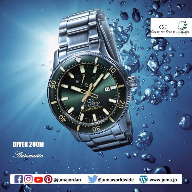 Orient Star: Mechanical Sports Watch, Diver 200m Green Dial Sapphire Crystal Power Reserve 50Hrs Metal Strap - 43.6mm Case (RE-AU0307E) Made in Japan.  #orientwatches #orientwatch #movingmoments #wristwatch #watches #watchesofinstagram #watchoftheday #watchoftheweek #watchfampic.twitter.com/xZUponR2qD
