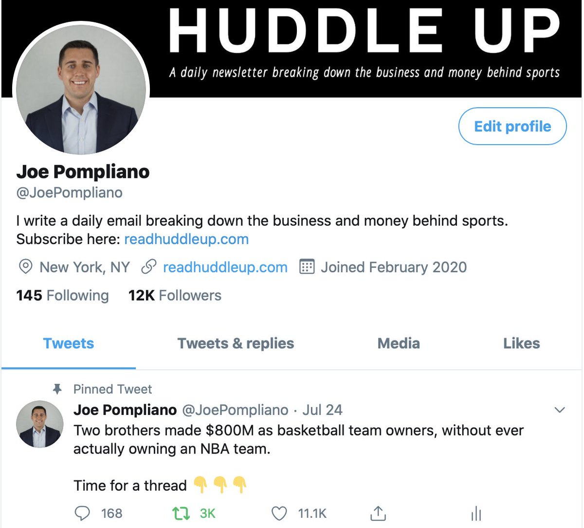 5) Pin your most engaged tweet.This will automatically give readers a feeling of legitimacy when they visit your profile.My visitors are instantly greeted with a clear description of the value I provide, my newsletter link, and a viral tweet for validity.