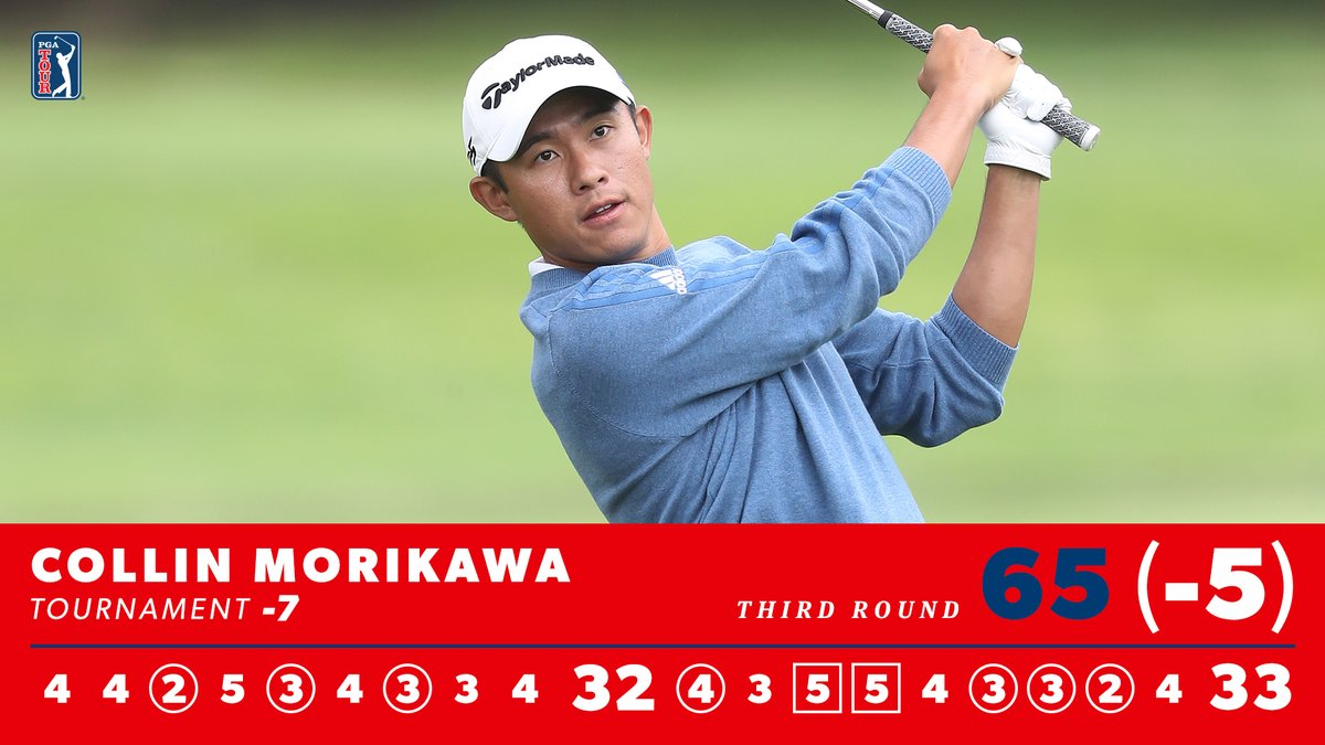 The lowest round of the day. 👏 @Collin_Morikawa will be in the hunt for his first major on Sunday.