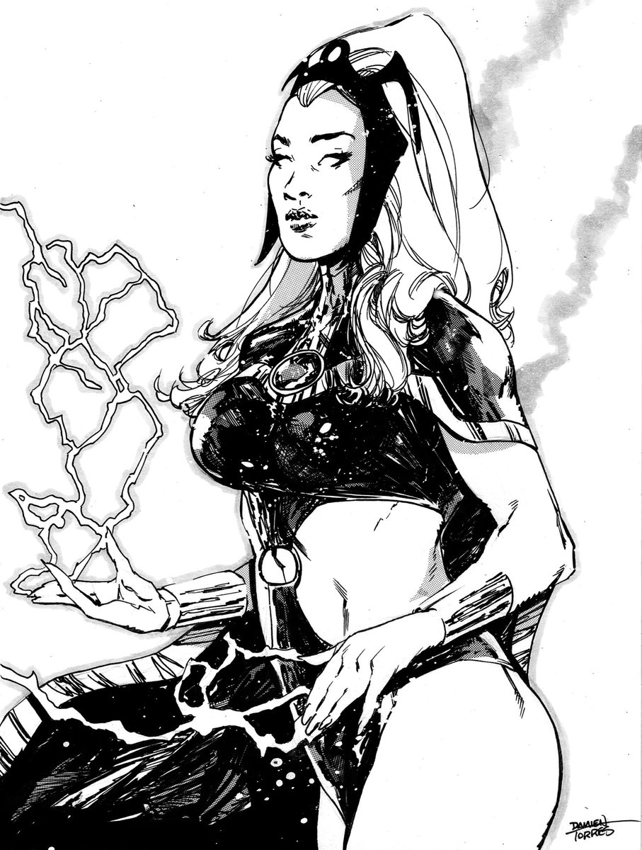 Used yesterday's Storm sketch as an inking demo for class today, and then experimented with it. Tried some Deleter screentone on this that I recently bought. Really love using this stuff!  Can't wait to try it out some more.  #storm #xmen #marvel #comics #drawing #ink #sketch https://t.co/DoBwCS1iw3