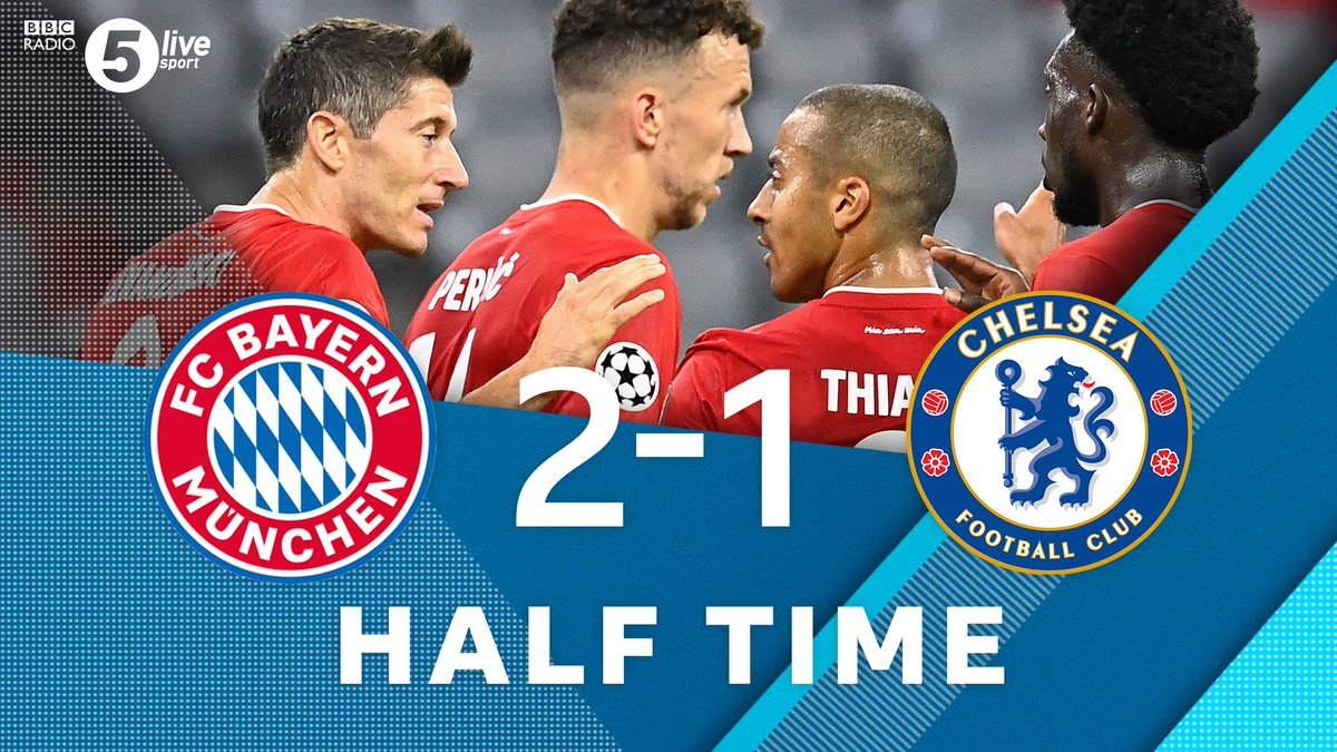 HT  🔴 Bayern Munich 2-1 Chelsea 🔵 (agg 5-1)  Robert Lewandowski's penalty opened the scoring before Ivan Perisic doubled the lead. Tammy Abraham then pulled one back for #CFC.  Join us on @BBCSounds 📲📻: https://t.co/5Du5Yilmm1 #UCL #BAYCHE https://t.co/igDDCb7ilL