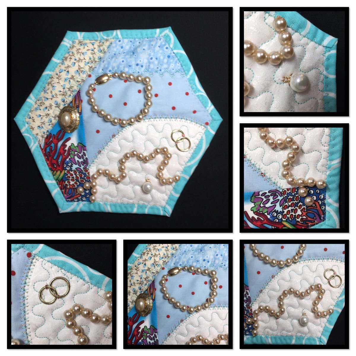 Excited to share this item from my #etsy shop: Oceans Bounty Quilt - mini quilt - wall hanging embellished with #pearls and mock #wedding rings. https://etsy.me/2PDLs9s #pearlanniversary #weddinganniversary pic.twitter.com/VlZOHsrdzX